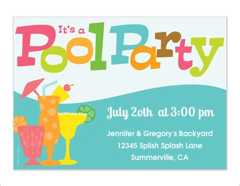 sample  pool party invitations   sample