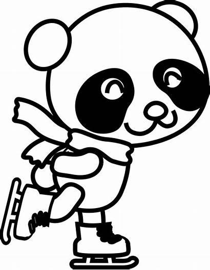 Panda Coloring Skating Clipart Pages Clip Drawing
