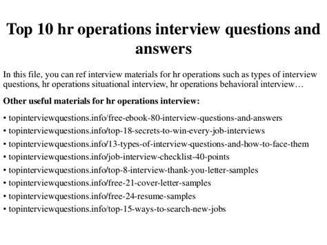 Hr Analyst Questions by Top 10 Hr Operations Questions And Answers