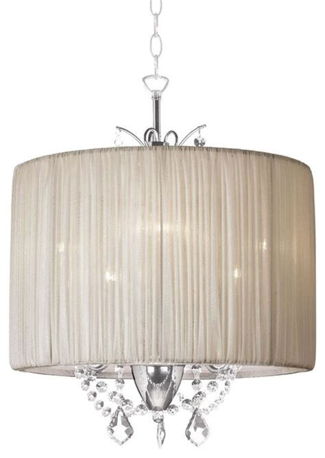 mini chandelier with pleated drum shade