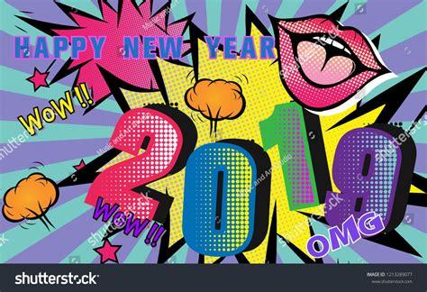 2019 Happy New Year.pop Art Retro Background.comic Cartoon