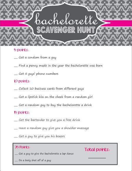 Bachelorette Scavenger Hunt Printable