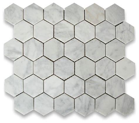 carrara white marble hexagon mosaic tile 2 inch honed