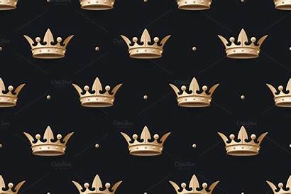 Crown King Gold Pattern Background Crowns Seamless