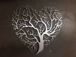 Tree heart metal wall art unique