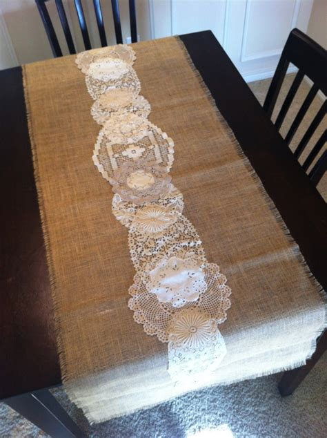 burlap  lace table runner motifbrophy