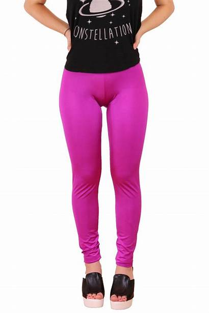 Leggings Shiny Pink Fuchsia Spandex Shine Clothing