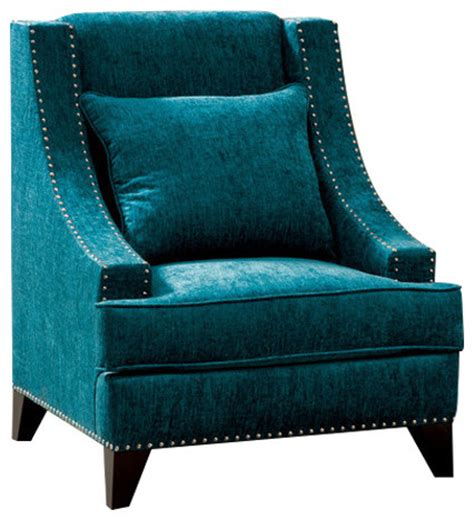 contemporary fabric accent chair nailhead trim with