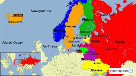 stepmap northnortheast europe landkarte fuer europe