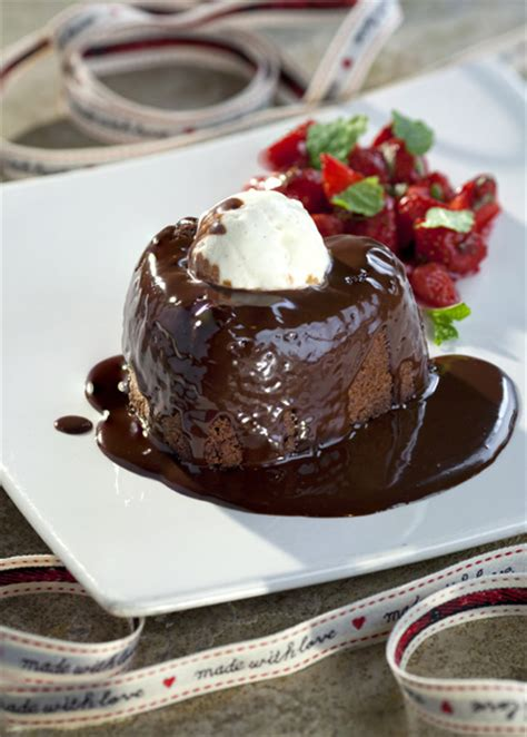 chocolate heart fondant   strawberry  mint salad
