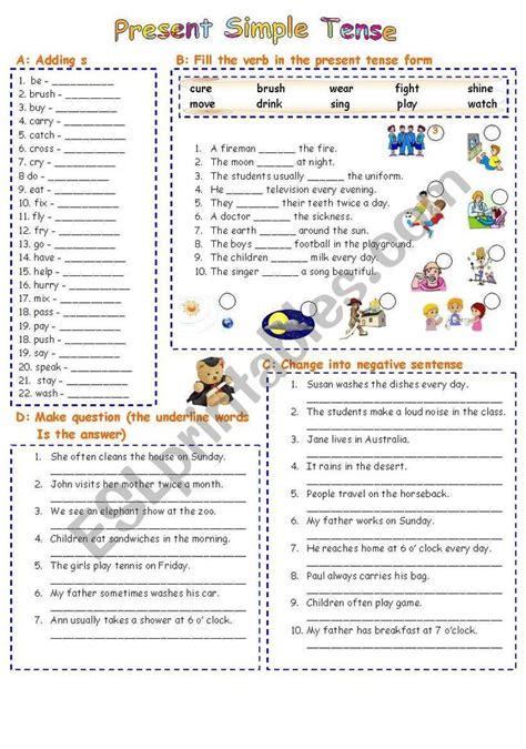 pin  simple present tense worksheets