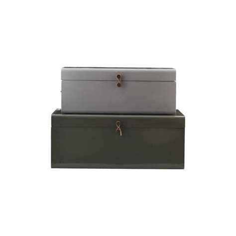 House Doctor Kiste by House Doctor Storage Box Set Of 2 Grey Green Metal