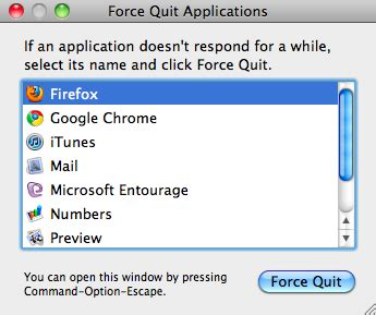 Application Not Responding Mac How To Force Quit An Application On A Mac When It Is Not