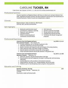 best intensive care unit registered nurse resume example With great nursing resume