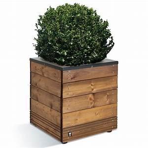 Fleur En Bois : bac fleurs bois trait autoclave acier l45 h47 5 cm ~ Dallasstarsshop.com Idées de Décoration