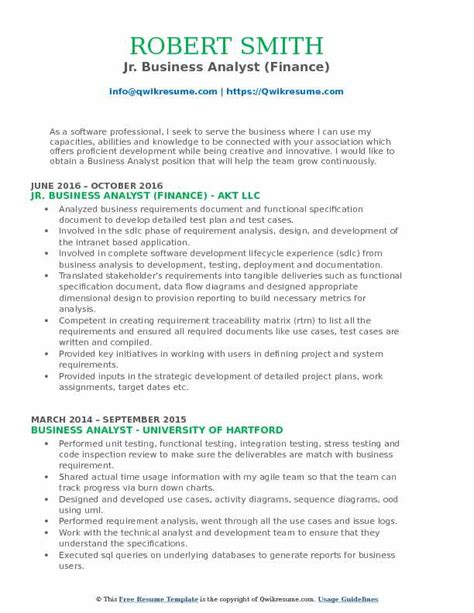 Junior Business Analyst Resume by Jr Business Analyst Resume Sles Qwikresume