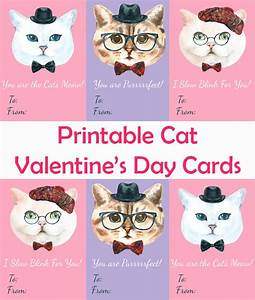 Printable Cat Valentine's Day Cards - My 3 Little Kittens