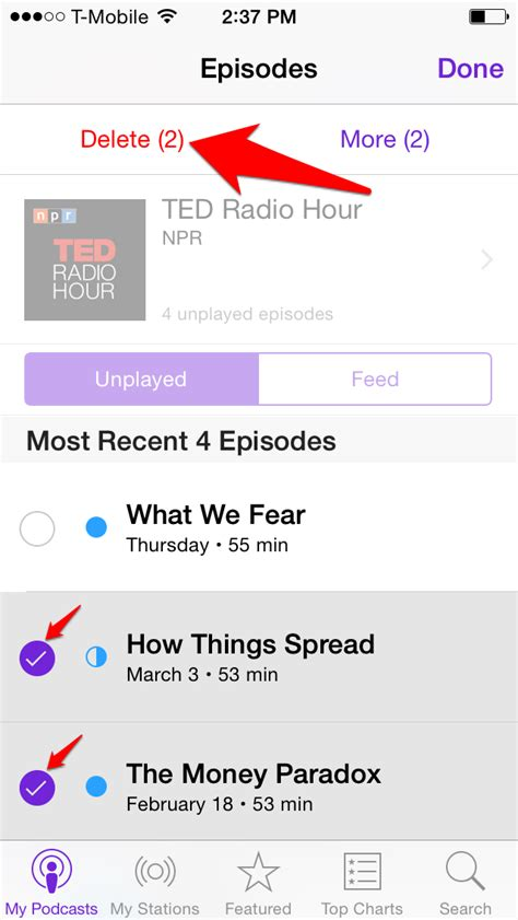 how to delete podcasts from iphone how to delete podcast episodes on your iphone