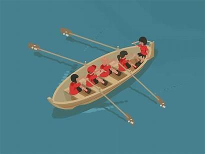 Rowing Cycle Boat Isometric Animation Dribbble Skiff