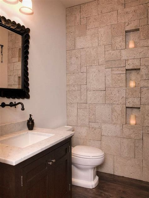 Here's a neat bathroom wall idea to give a touch of uniqueness and some bling art on the blank bathroom decorations should not end with things immediately visible. 46 Awesome Small Powder Room Design Ideas | Bathroom | Bathroom, Stone bathroom, Bathroom floor ...