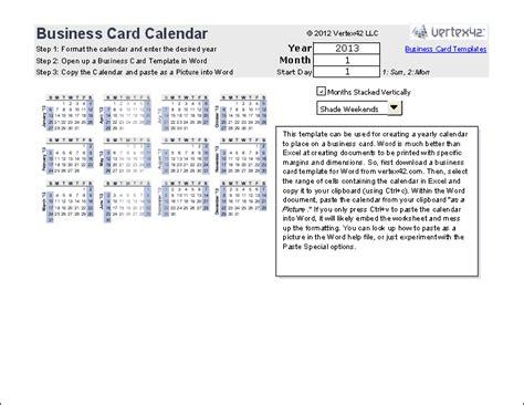 print  yearly calendar   business card