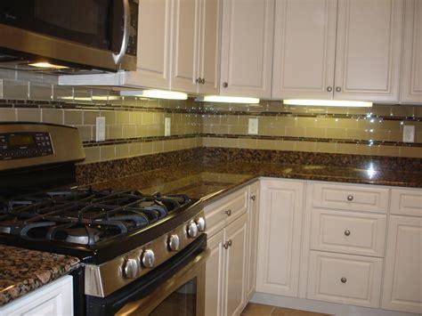 Glass Tile Kitchen Backsplash Glass 3x6 Kitchen Tile Backsplash With Two Granite And Glass Stick Borders New Jersey Custom Tile