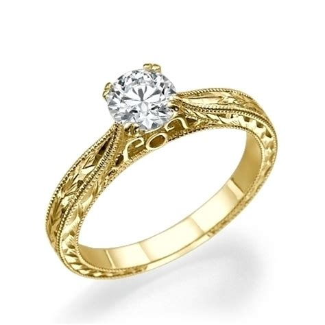18k gold engagement rings engraved engagement ring in 18k yellow gold