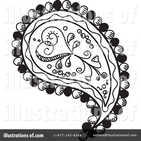 Black and White Paisley Clip Art