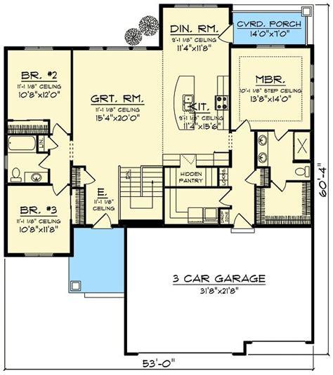 plan ah craftsman  open concept floor plan