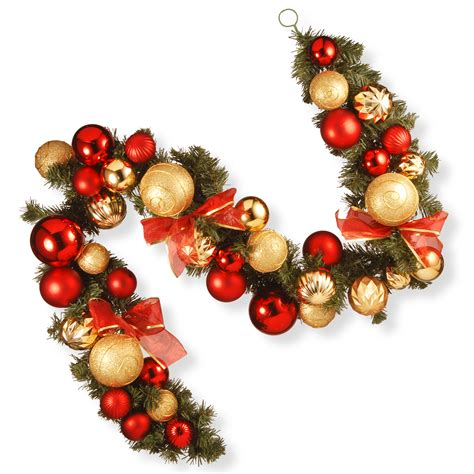 national tree company  ft red  gold ornament garland