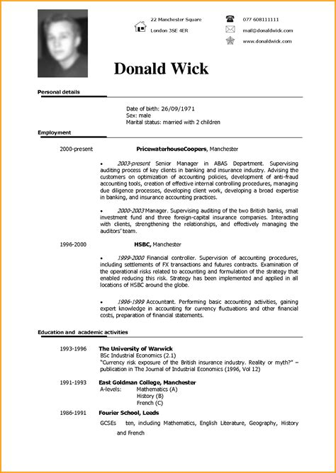 American Resume Model by 7 Cv Model Lettre Administrative