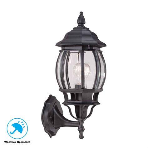 hton bay 1 light black outdoor wall lantern hb7027 05