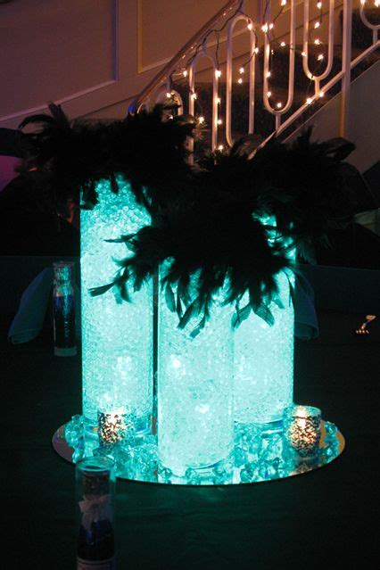 Sweet Table Vases by Glass Cylinder With Aqua Gems Bat Mitzvah