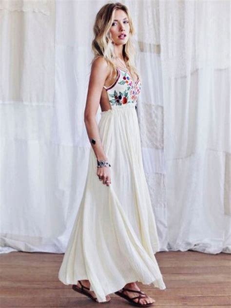 Boho Chic Kleid Backless White Dress Floral Print Slip Dress Power Day Sale