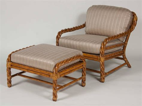 pair of rattan club chairs and ottoman by mcguire at 1stdibs