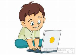 Computers Clipart- smiling-little-boy-operating-laptop ...
