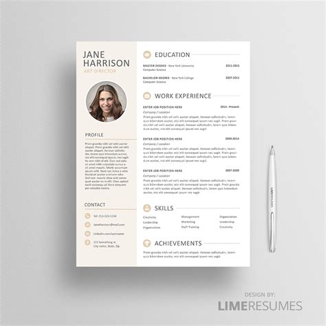 resume  photo cv template  photo limeresumes