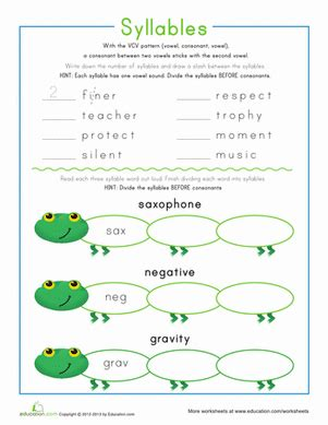 syllable patterns vcv worksheet education