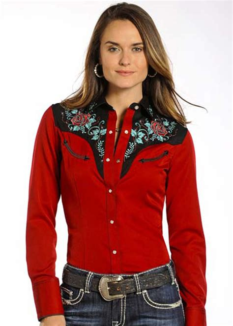 accesoires de cuisine chemise chemisier femme stye country wester motifs brodés