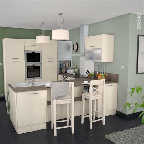cuisine oskab meuble de cuisine bas keria ivoire 2 portes l120 x h70 x