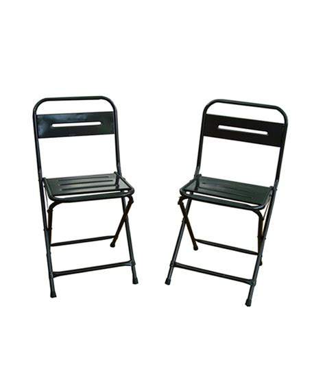 montreal set of two iron folding chairs color gun