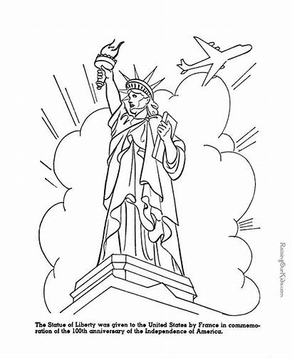Liberty Statue Coloring Pages Symbols American Printable