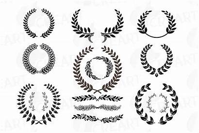 Wreath Clipart Monogram Laurel Silhouette Frame Frames
