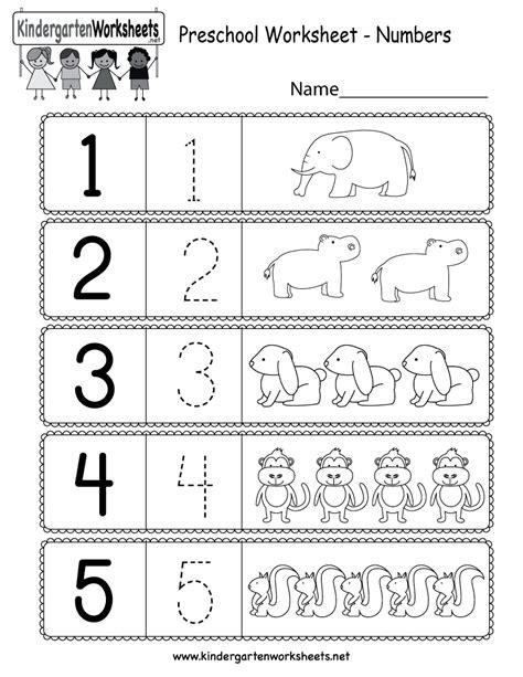 printable preschool worksheet  numbers