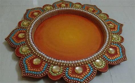 Marriage plate decoration castrophotos navratri aarti thali decoration ideas aarti thali junglespirit Image collections
