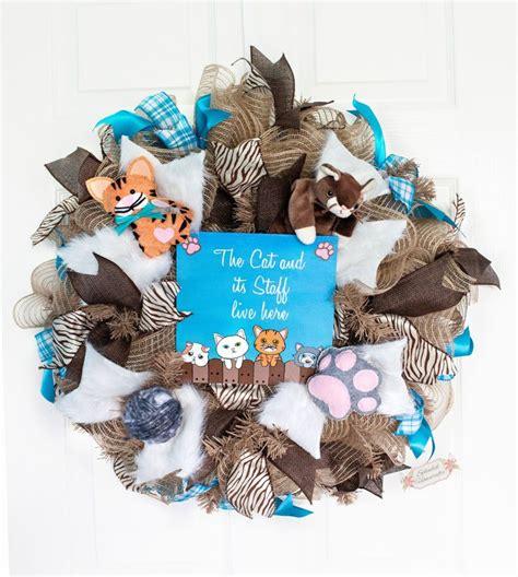 reduced cat wreath cat mesh wreath cat lovers wreath