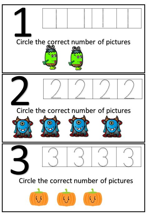 halloween cut paste number recognition writing worksheets mash ie