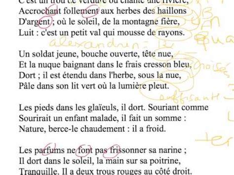 Lecture Analytique Le Dormeur Du Val Arthur Rimbaud by Cours De Fran 231 Ais Des 1es2 2016 2017 187 Rimbaud Lecture