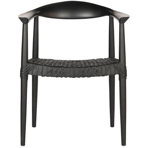 safavieh bandelier black leather arm chair fox1003b the