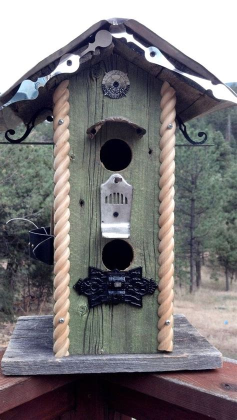 train station inspired birdhouse  recycled barnwood